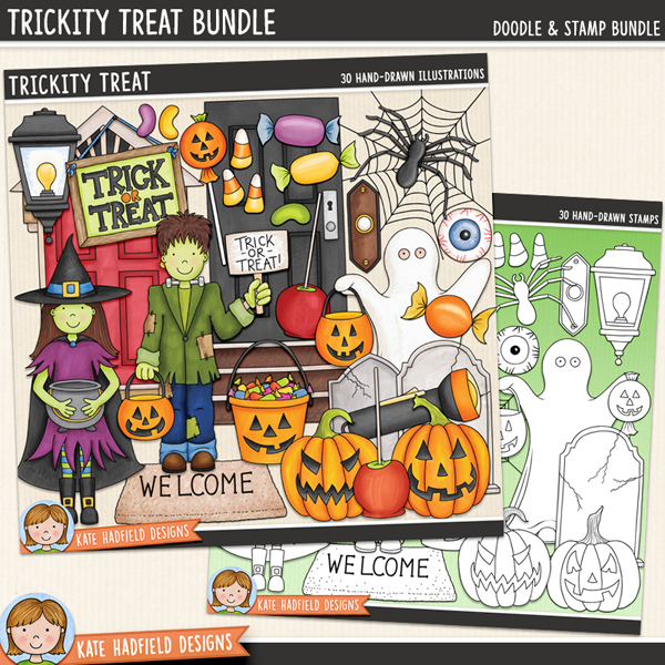 Trickity Treat - Halloween trick-or-treat digital scrapbook elements / cute Halloween characters clip art! (Clipart and line art bundle). Hand-drawn illustrations for digital scrapbooking, crafting and teaching resources from Kate Hadfield Designs.