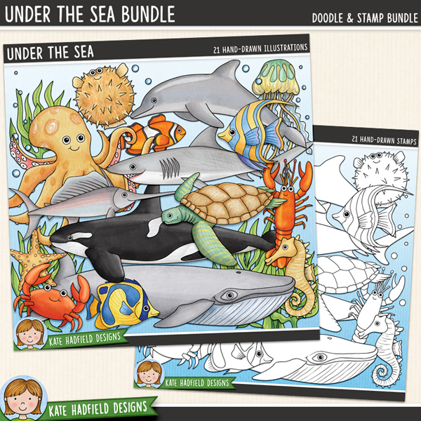 Under the Sea sea-life digital scrapbook kit / cute sea creatures clip art! (Clipart and line art bundle). Hand-drawn illustrations for digital scrapbooking, crafting and teaching resources from Kate Hadfield Designs.
