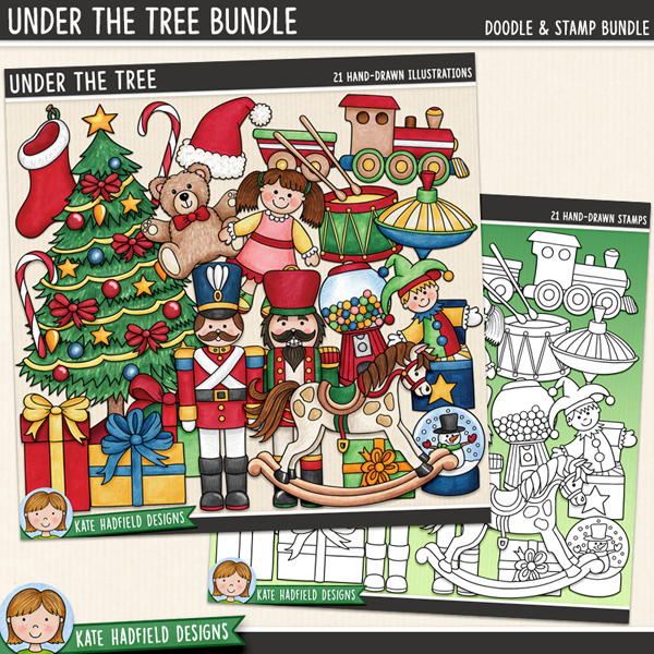 Under the Tree - traditional Christmas digital scrapbook elements / cute retro Christmas gifts clip art! (Clip art and line art bundle). Hand-drawn doodles for digital scrapbooking, crafting and teaching resources from Kate Hadfield Designs.