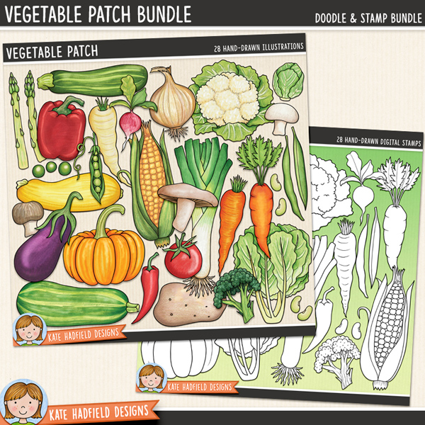 Vegetable Patch - vegetable digital scrapbook elements / cute veggies clip art! (Clipart and line art bundle). Hand-drawn illustrations for digital scrapbooking, crafting and teaching resources from Kate Hadfield Designs.
