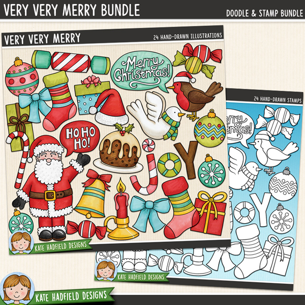 Very Very Merry - Christmas digital scrapbook elements / cute Santa clip art! (Clipart and line art bundle). Hand-drawn illustrations for digital scrapbooking, crafting and teaching resources from Kate Hadfield Designs. #digitalscrapbooking