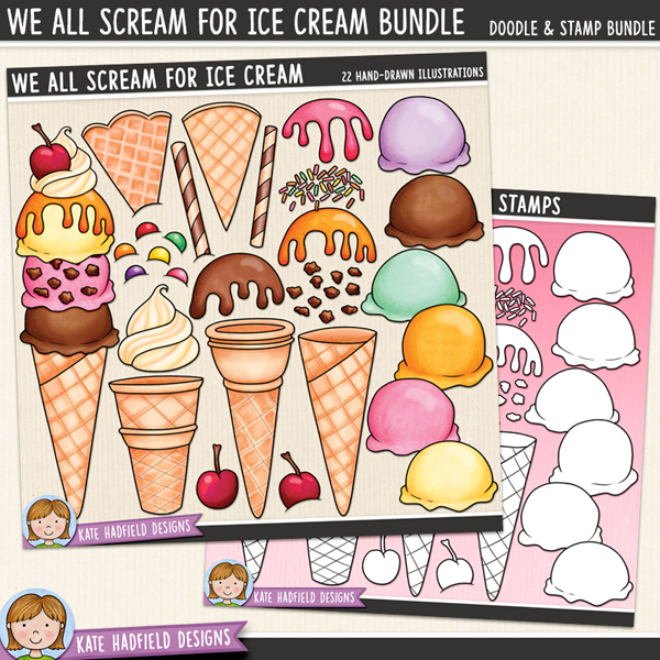 Make your own ice cream digital scrapbook elements / cute dessert clip art! (Clip art and line art bundle). Hand-drawn illustrations for digital scrapbooking, crafting and teaching resources from Kate Hadfield Designs.