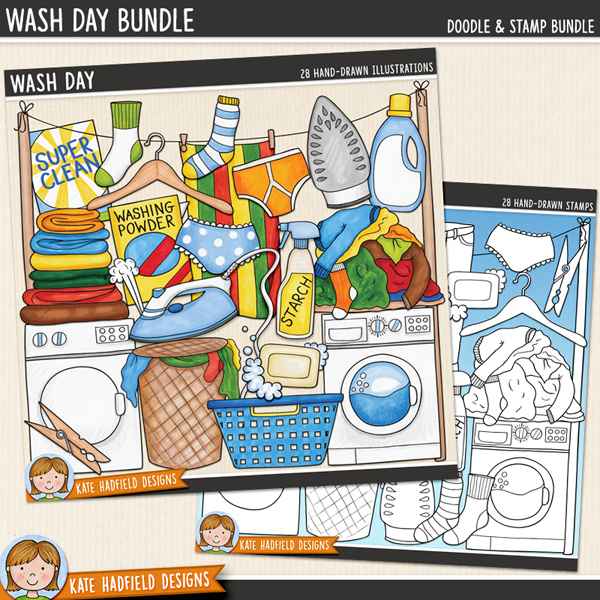 Wash Day - laundry digital scrapbook elements / cute household chore clip art! (Clip art and linen art bundle). Hand-drawn clip art and line art for digital scrapbooking, crafting and teaching resources from Kate Hadfield Designs.