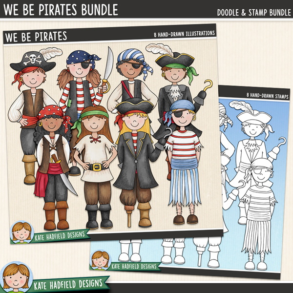 Pirate kids digital scrapbook elements / cute pirates clip art! (Clipart and line art bundle). Hand-drawn doodles for digital scrapbooking, crafting and teaching resources from Kate Hadfield Designs.
