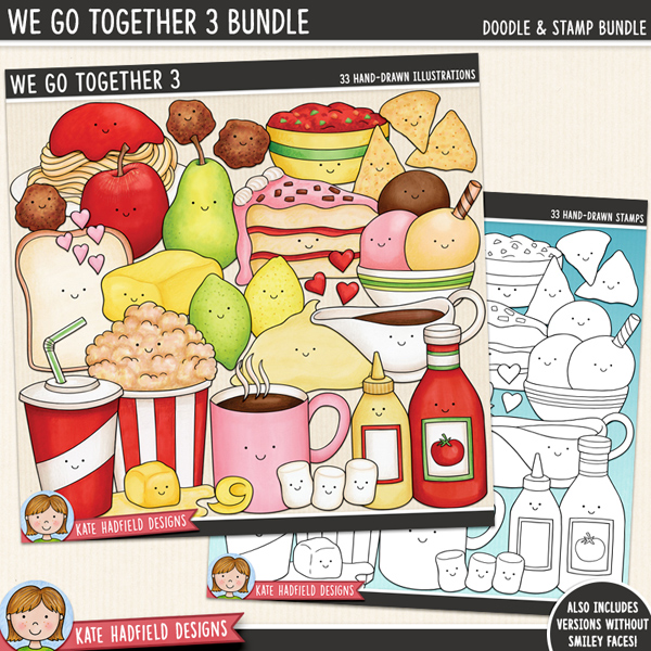 We Go Together 3 - fun food pairs digital scrapbook elements / cute Valentines food clip art! (Clip art and line art bundle). Hand-drawn doodles and illustrations for digital scrapbooking, crafting and teaching resources from Kate Hadfield Designs.