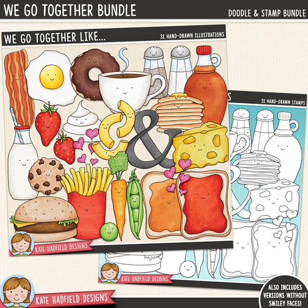 'We Go Together Like' - Food Pairs digital scrapbook elements / cute Valentines food clip art! (Clip art and line art bundle). Hand-drawn doodles and illustrations for digital scrapbooking, crafting and teaching resources from Kate Hadfield Designs.