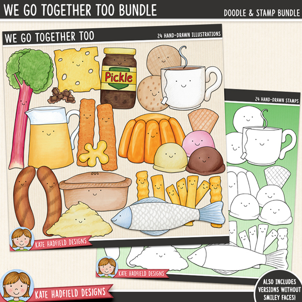 We Go Together Too - British Food Pairs digital scrapbook elements / cute Valentines food clip art!  (Clip art and line art bundle). Hand-drawn doodles for digital scrapbooking, crafting and teaching resources from Kate Hadfield Designs.