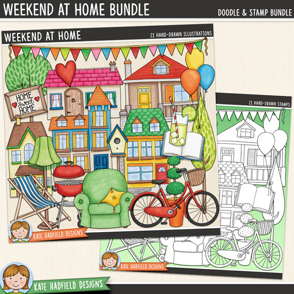 Weekend at Home - house and home digital scrapbook elements! (Clipart and line art bundle). Hand-drawn doodle illustrations for digital scrapbooking, crafting and teaching resources from Kate Hadfield Designs.