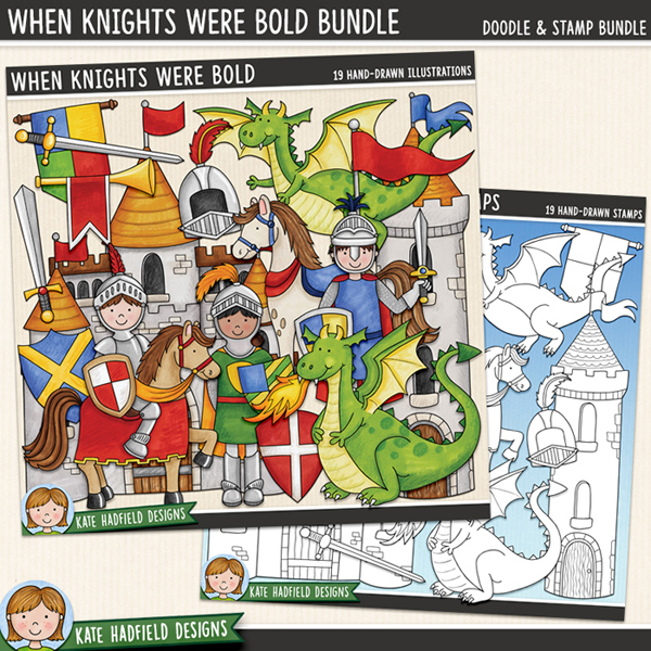 When Knights Were Bold - medieval knights and dragons digital scrapbook kit / cute fairy tale clip art! (Clip art and line art bundle). Hand-drawn illustrations for digital scrapbooking, crafting and teaching resources from Kate Hadfield Designs. #digitalscrapbooking