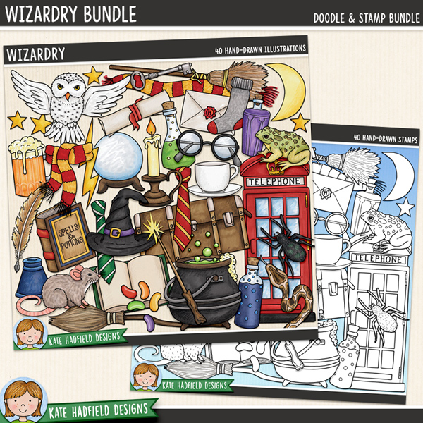 A jam packed doodled kit full of all sorts of wizarding paraphernalia that's perfect for capturing memories of your favourite wizards and witches and for making magical projects! Wizardry contains the following hand drawn doodles: jug of beer, open book, 2 broomsticks, candle, cauldron, crystal ball, 2 pairs of glasses, 2 witch / wizard hats, inkpot, jelly beans, key, letter, lightning, moon, owl, phone box, 3 potion bottles, quill, rat, 2 scarves, scroll, snake, sock, spell book, spider, stars, teacup, 2 school ties, toad, trunk, 2 wands and wand sparkle.	Extra Value Bundle pack containing:			Wizardry			Wizardry StampsFOR PERSONAL & EDUCATIONAL USE (please see my Terms of Use for more information)