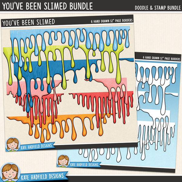 A set of 6 gruesomely dripping page borders to add a touch of gooey slime to your pages and projects! Use them full width across your page or resize them and tuck them underneath photos and other elements for extra ick! Contains 6 hand drawn page borders to coordinate with the October 2013 BYOC collection.Extra Value Bundle containing:You've Been SlimedYou've Been Slimed StampsSupplied as two separate downloads.FOR PERSONAL & EDUCATIONAL USE (please see myTerms of Usefor more information)