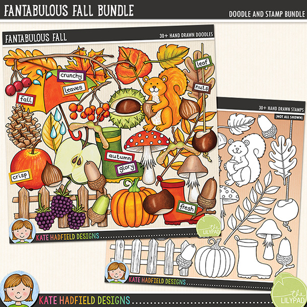 Fantabulous Fall digital scrapbook elements / cute autumn and fall clip art set! Clipart and line art bundle. Hand-drawn doodles for digital scrapbooking, crafting and teaching resources from Kate Hadfield Designs.