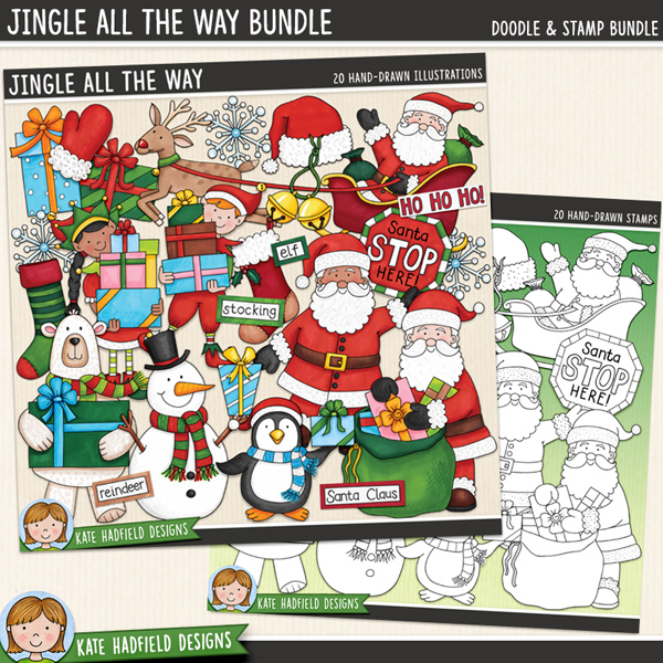 Jingle All The Way - Christmas characters digital scrapbook elements / cute Santa Christmas clip art! (Clipart and line art bundle). Hand-drawn illustrations for digital scrapbooking, crafting and teaching resources from Kate Hadfield Designs.