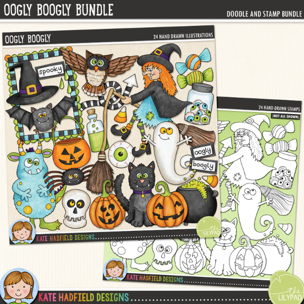 Oogly Boogly - a fun collection of Halloween character digital scrapbook elements / cute Halloween clip art! (Clipart and line art bundle). Hand-drawn doodles and illustrations for digital scrapbooking, crafting and teaching resources from Kate Hadfield Designs.