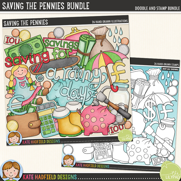 Saving the Pennies - pocket money digital scrapbook kit / cute savings clip art inspired by my daughter's new piggy bank! (Clipart and line art bundle). Hand-drawn illustrations for digital scrapbooking, crafting and teaching resources from Kate Hadfield Designs.