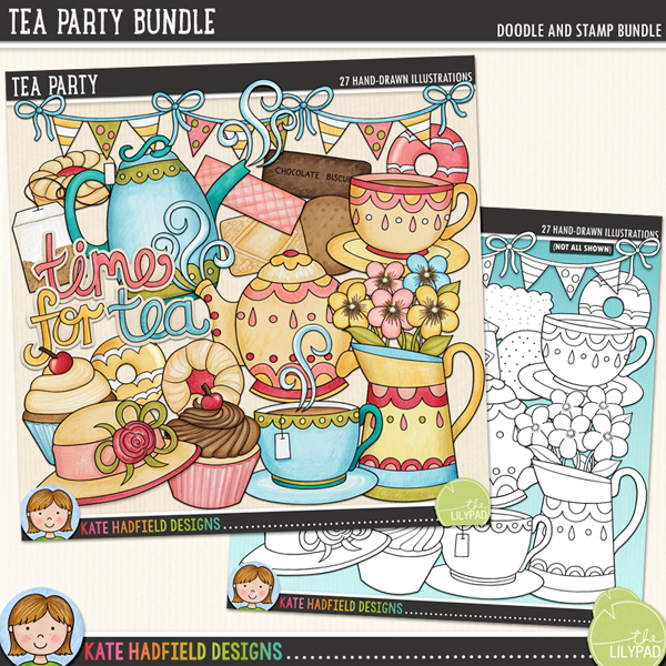 Tea Party - afternoon tea digital scrapbook kit / cute tea party clip art! (Clipart and line art bundle). Hand-drawn illustrations and clip art for digital scrapbooking, crafting and teaching resources from Kate Hadfield Designs.