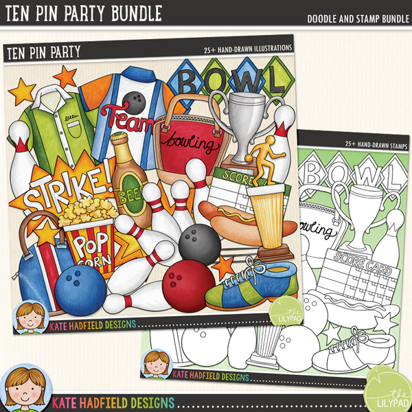 Ten Pin Party - tenpin bowling digital scrapbook kit / fun bowling clip art! (Clipart and line art bundle!) Hand-drawn illustrations and clipart for digital scrapbooking, crafting and teaching resources from Kate Hadfield Designs.