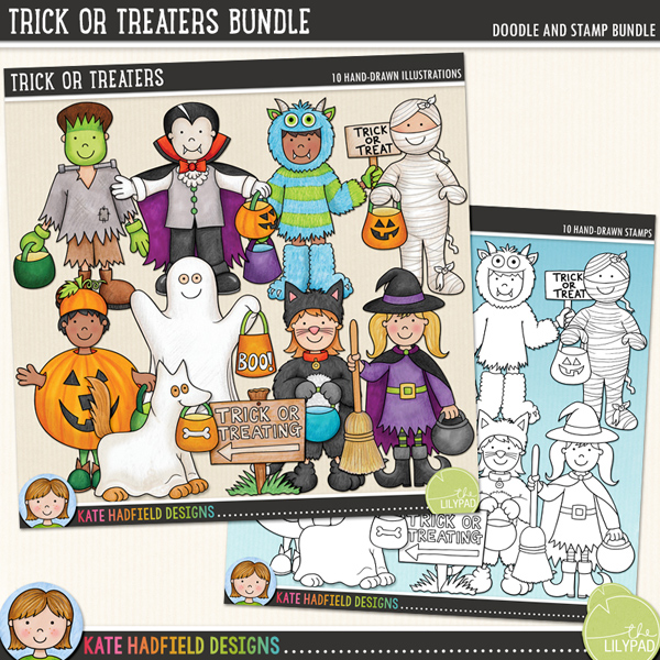Trick or Treaters - a fun collection of Halloween kids in costume, all ready to go trick-or-treating! Halloween character digital scrapbook elements / cute  clip art! (Clip art and line art bundle). Hand-drawn doodles and illustrations for digital scrapbooking, crafting and teaching resources from Kate Hadfield Designs.