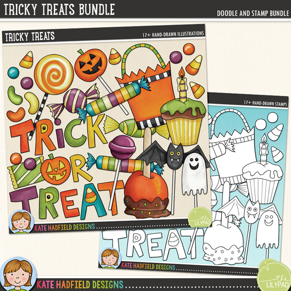 Tricky Treats -  digital scrapbook elements / cute Halloween candy clip art inspired by the contents of my children's trick-or-treat bags! (Clipart and line art bundle). Hand-drawn illustrations and doodles for digital scrapbooking, crafting and teaching resources from Kate Hadfield Designs.
