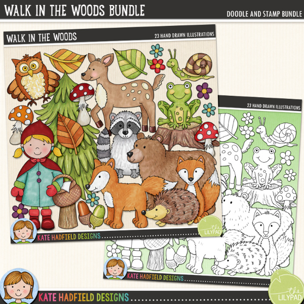 Walk in the Woods - forest animal digital scrapbook elements and cute woodland creatures clip art! (Clipart and line art bundle) Hand-drawn illustrations for digital scrapbooking, crafting and teaching resources from Kate Hadfield Designs.