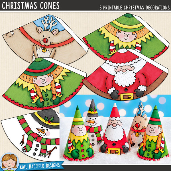 Christmas Cones - an easy printable Christmas craft for kids! A fun activity the kids will enjoy each year, you can even add string or ribbon to turn them into tree ornaments!