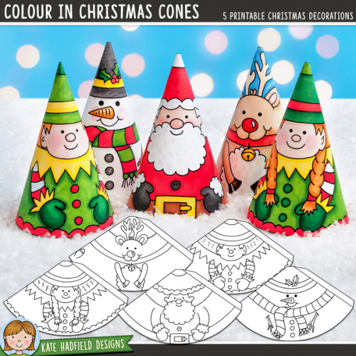 Colour In Christmas Cones