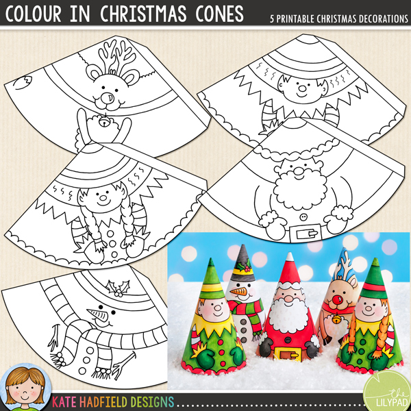 Colour In Christmas Cones - an easy printable Christmas craft for kids! Just print, cut out and decorate to create these cute cone characters! A fun activity the kids will enjoy each year, you can even add string or ribbon to turn them into tree ornaments! #christmascrafts #christmascraftsforkids