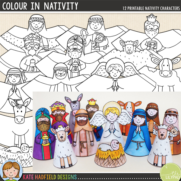 A fun set of 12 hand-drawn nativity characters for you to print and colour! Simply print out, decorate with your favourite art materials, cut out then glue along the edge and roll up to create your own nativity scene! Contains the following printable characters: angel, baby Jesus in manger, cow, donkey, Mary, Joseph, sheep, 2 shepherds and 3 wise men / kings. Average size: 10cm tall. All images are 300 dpi for best quality printing.	INSTRUCTIONS:	1. Print out the characters on a good quality paper (a lightweight matte photo paper is a good choice)	2. Colour in the characters with your choice of art materials!	3. Cut out and then glue along the tab (don't fold the tab otherwise there will be a ridge in your finished cone!)	4. Roll the base of the cone round with the tab on the inside and stick together. You might find its easiest to do this on a flat surface to help your character stand up straight! Glue the angel wings to the back of the angel once assembled. 	 	You might like to finish off the cones with some extra embellishment! You could try adding some straw to the manger, some glitter to the wise men's gifts, or some cotton wool to create extra fluffy sheep!	 			DOWNLOADS:						Two download versions are included for your convenience:									Zip file containing individual PNG and JPEG files for each cone (ideal for resizing the cones, or for printing lots of the same design!)							Ready-to-print PDF file (pefrect to just print and craft!)							For a quick and easy pre-coloured version of this craft you might like the MY NATIVITY version of this craft!				FOR PERSONAL USE ONLY (please see my Terms of Use for more information)