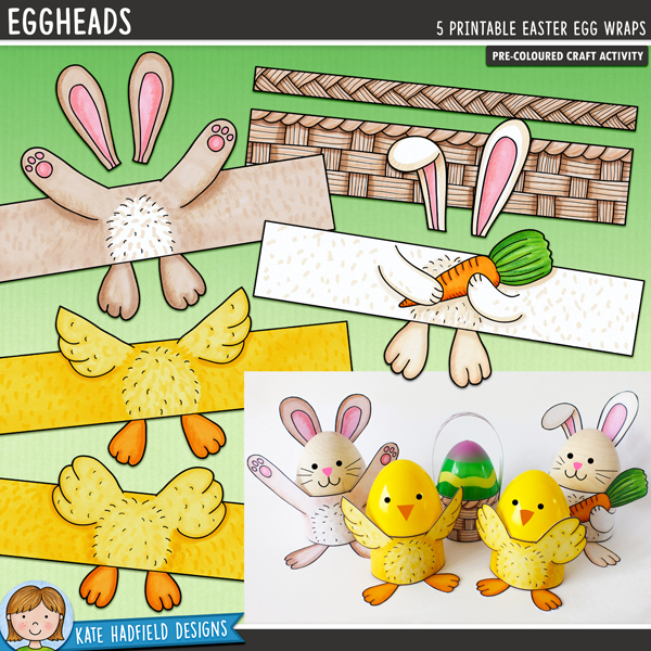 Eggheads - Easter craft for kids! Fun and easy printable chick, rabbit and Easter basket egg wraps from Kate Hadfield Designs - just print, cut out and create!