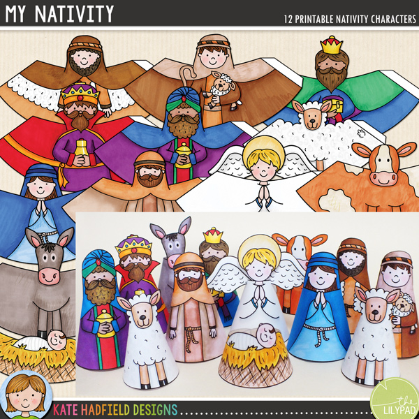 A fun set of 12 hand drawn, PRE-COLOURED nativity characters for you to print and create! Simply print, cut out, glue along the edge and roll up to create your own nativity scene! Contains the following printable characters: angel, baby Jesus in manger, cow, donkey, Mary, Joseph, sheep, 2 shepherds and 3 wise men / kings. Average size: 10cm tall. All images are 300 dpi for best quality printing.	INSTRUCTIONS:	1. Print out the characters on a good quality paper (a lightweight matte photo paper is a good choice)	2. Cut out and then glue along the tab (don't fold the tab otherwise there will be a ridge in your finished character!)	3. Roll the base of the character round with the tab on the inside and stick together. You might find its easiest to do this on a flat surface to help your character stand up straight! Glue the angel wings to the back of the angel once assembled. 	 	You might like to finish off the cones with some extra embellishment! You could try adding some straw to the manger, some glitter to the wise men's gifts, or some cotton wool for extra fluffy sheep!	 			DOWNLOADS:			Two download versions are included for your convenience:						Zip file containing individual PNG and JPEG files for each cone (ideal for resizing the cones, or for printing lots of the same design!)					Ready-to-print PDF file (pefrect to just print and craft!)	For a colour-in version to decorate yourself, you might like the COLOUR-IN NATIVITY version of this craft!FOR PERSONAL USE ONLY (please see my Terms of Use for more information)