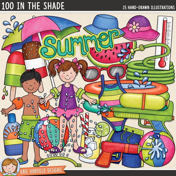 100 In The Shade - summer digital scrapbook elements / cute summer kids clip art! Hand-drawn doodles and illustrations for digital scrapbooking, crafting and teaching resources from Kate Hadfield Designs.