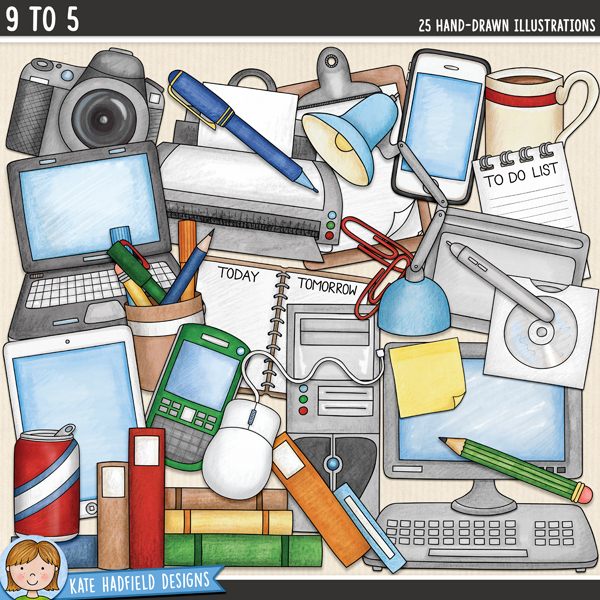 Office & technology digital scrapbooking elements / cute office supplies clip art! Hand-drawn illustrations for digital scrapbooking, crafting and teaching resources from Kate Hadfield Designs.