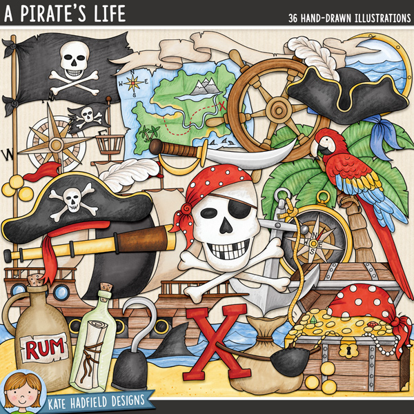 Pirate digital scrapbook elements / cute pirate themed clip art! Hand-drawn illustrations for digital scrapbooking, crafting and teaching resources from Kate Hadfield Designs.