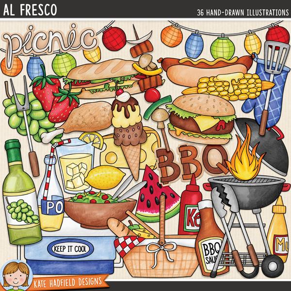 Al Fresco - Picnic digital scrapbook elements / cute summer BBQ & grill clip art! Hand-drawn illustrations for digital scrapbooking, crafting and teaching resources from Kate Hadfield Designs. #digiscrap #digitalscrapbooking