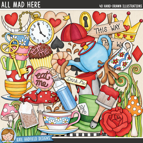 All Mad Here - Alice in Wonderland digital scrapbook elements / cute wonderland clip art! Hand-drawn illustrations for digital scrapbooking, crafting and teaching resources from Kate Hadfield Designs.