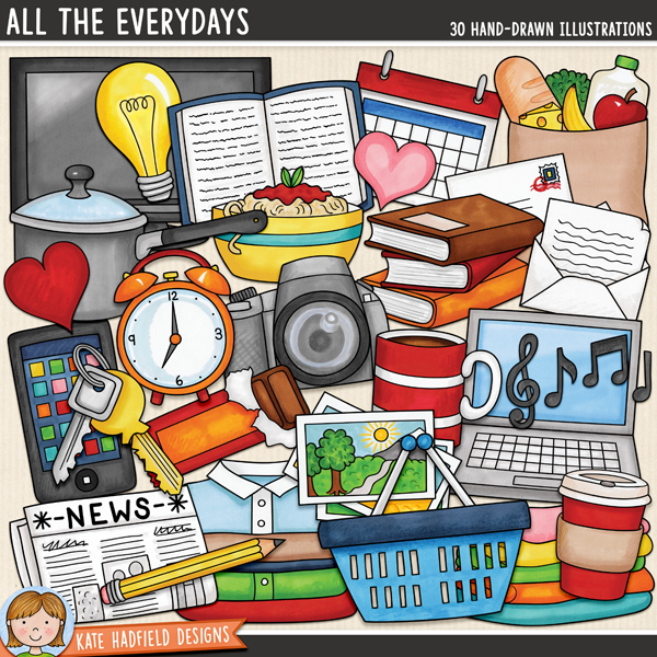 Everyday objects digital scrapbook kit / cute and colourful household items clip art! Hand-drawn doodles for digital scrapbooking, crafting and teaching resources from Kate Hadfield Designs.