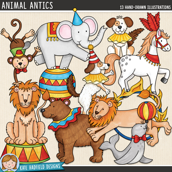 Circus animal digital scrapbook elements / cute circus clipart! Hand-drawn doodles and illustrations for digital scrapbooking, crafting and teaching resources from Kate Hadfield Designs.