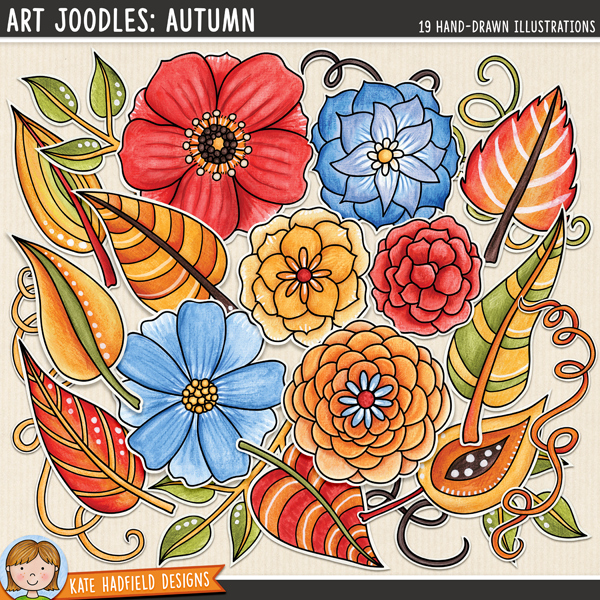 Art Joodles: Autumn - Mixed Media digital scrapbook elements / painted flower clip art! Hand-drawn doodles for art journals, digital scrapbooking, crafting and teaching resources from Kate Hadfield Designs.
