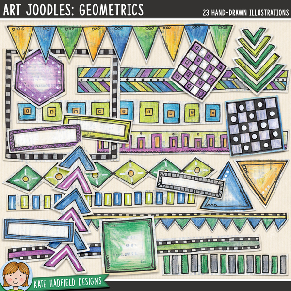 Art Joodles: Geometric. Mixed Media digital scrapbooking elements / painted clip art! Hand-drawn doodles for art journals, digital scrapbooking, crafting and teaching resources from Kate Hadfield Designs.