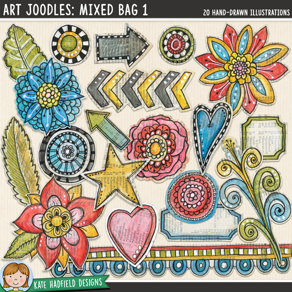 Art Joodles: Mixed Bag 1. Mixed Media digital scrapbooking elements / painted clip art! Hand-drawn doodles for art journals, digital scrapbooking, crafting and teaching resources from Kate Hadfield Designs.