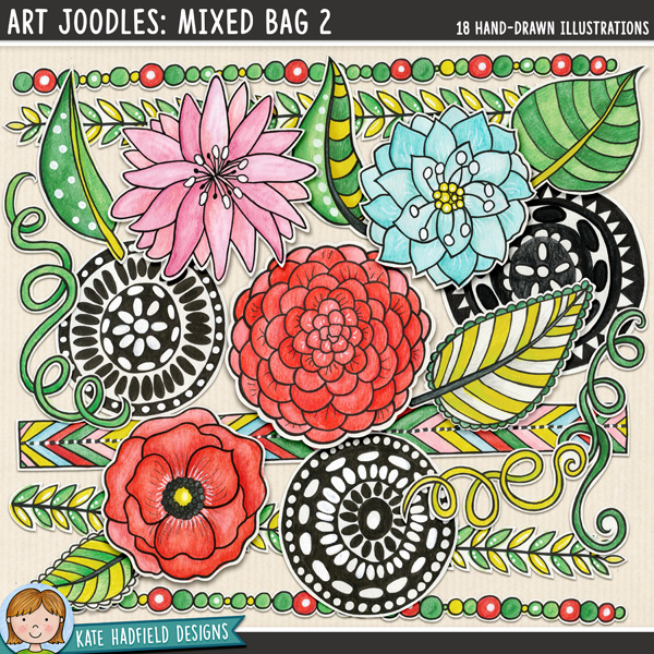 Art Joodles 2: Mixed Media digital scrapbook elements / hand-painted flower clip art! Hand-drawn doodles for art journals, digital scrapbooking, crafting and teaching resources from Kate Hadfield Designs.