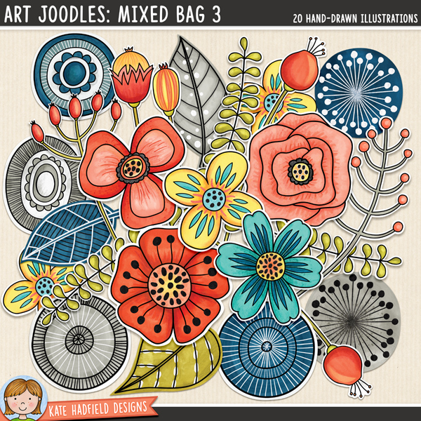 A collection of whimsical, hand painted doodles that are perfect for adding a touch of hand-made fun to your layouts, art journals and other projects! Contains the following hand painted doodles: 6 circles, 5 flowers, 3 leaves, 3 seedpods, 3 sprigs. Part of the March 2016 BYOC collection. FOR PERSONAL & EDUCATIONAL USE (please see my Terms of Use for more information)