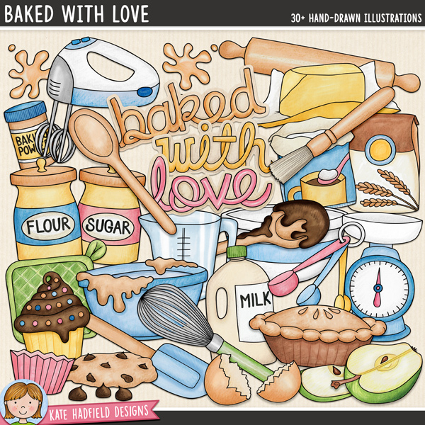 Baked With Love - baking digital scrapbook elements / cute cooking and kitchen objects clip art! Hand-drawn illustrations for digital scrapbooking, crafting and teaching resources from Kate Hadfield Designs.