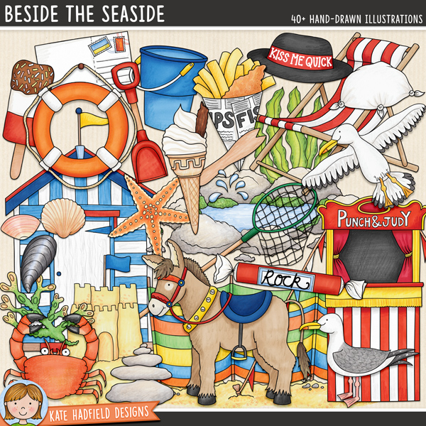 Beside the Seaside - British seaside themed digital scrapbook elements / cute beach clip art! Hand-drawn doodles for digital scrapbooking, crafting and teaching resources from Kate Hadfield Designs. #digitalscrapbooking