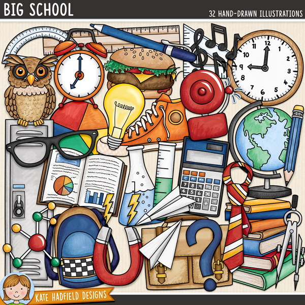 Big School - School digital scrapbook elements / cute high school clip art! Hand-drawn doodles and illustrations for digital scrapbooking, crafting and teaching resources from Kate Hadfield Designs.