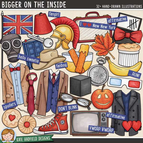 Bigger on the Inside celebrates the new era of my favourite sci-fi series! Contains the following hand drawn doodles: 3D glasses, apple, banana, bow tie, crack, cube, bowl of custard, diary, 2 fezzes, 2 fishfingers, British flag, gas mask, glasses, 2 hearts, 2 jam biscuits, key, leaf, 3 outfits, paper, roman helmet, shoe, soufflé, Stetson, suitcase, tally marks, tie, TV and fob watch. Also contains the following wordy-bits: affirmative, ALLONS-Y!, bigger on the inside, DON'T BLINK, fanboy, fangirl, FANTASTIC!, GERONIMO!, hello sweetie, I wear a ......... now ......... are cool!, I love New New York, new who, NO MORE, still not ginger, OOOH WEEE OOOH, pretend its a plan, Rule No.1, ...RUN!, run for your life!, The Doctor will see you now, shenanigans, smaller on the outside, spoilers, timey-wimey, VWORP VWORP.FOR PERSONAL / LIMITED S4H USE (please see my Terms of Use for more information)