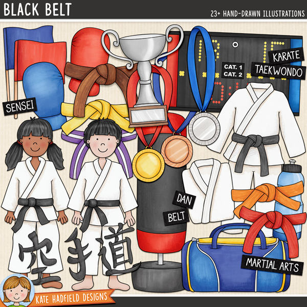 Karate digital scrapbook elements / cute martial arts clip art! Hand-drawn doodles and illustrations for digital scrapbooking, crafting and teaching resources from Kate Hadfield Designs.