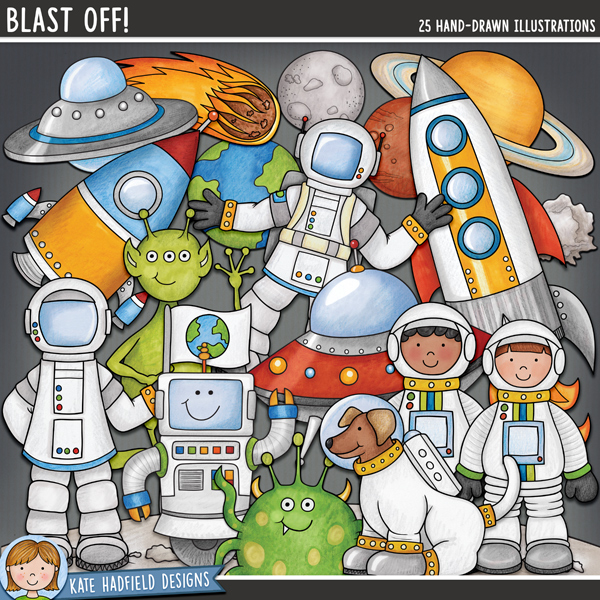 Blast Off digital scrapbook elements / cute space and planets clip art! Hand-drawn illustrations for digital scrapbooking, crafting and teaching resources from Kate Hadfield Designs.