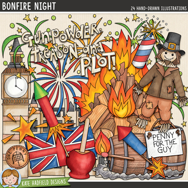 Bonfire Night / Guy Fawkes Night digital scrapbook elements and clip art! Hand-drawn doodles and illustrations for digital scrapbooking, crafting and teaching resources from Kate Hadfield Designs.
