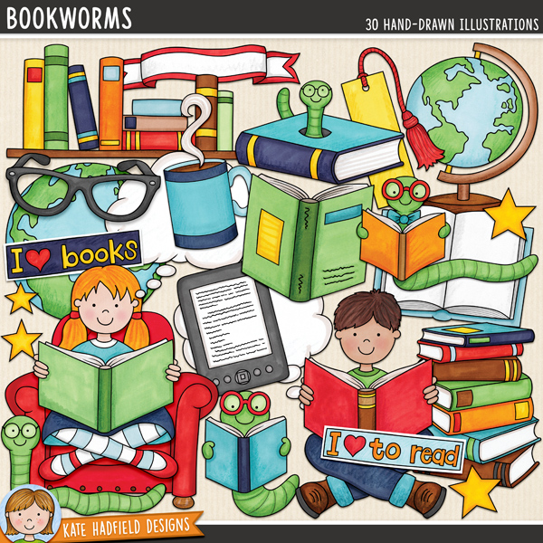 Bookworms - learning to read themed digital scrapbook elements / cute reading kids clip art! Hand-drawn doodles for digital scrapbooking, crafting and teaching resources from Kate Hadfield Designs.